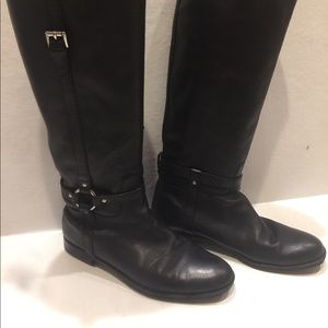 Coach Black Leather Riding Boots 7.5